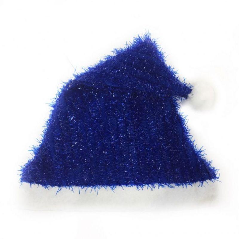Новогодний колпак с эффектом мишуры, синий