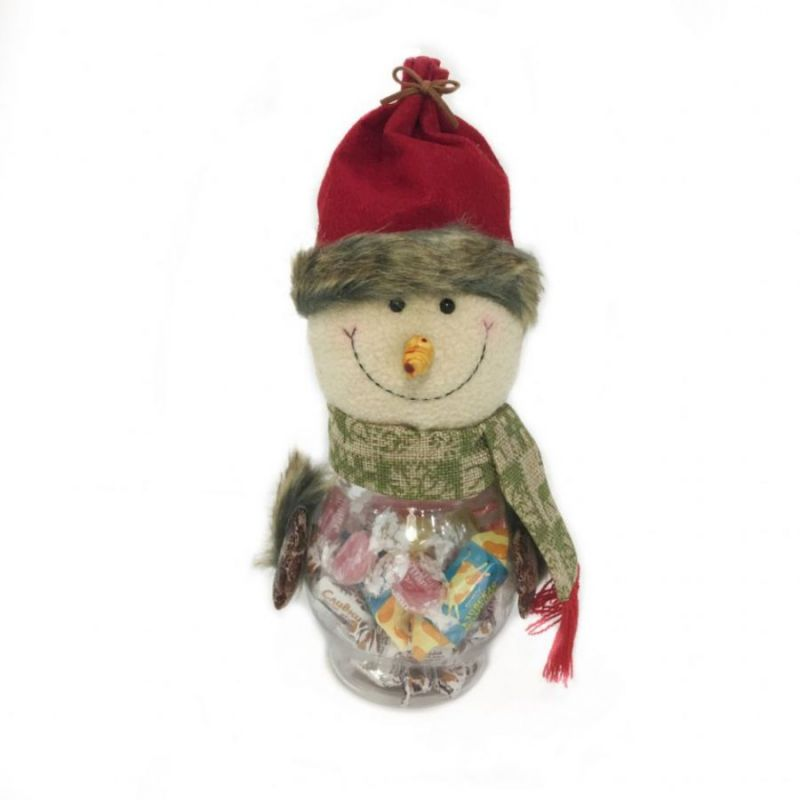 Новогодняя пластиковая банка с игрушкой для конфет, Дед Мороз
