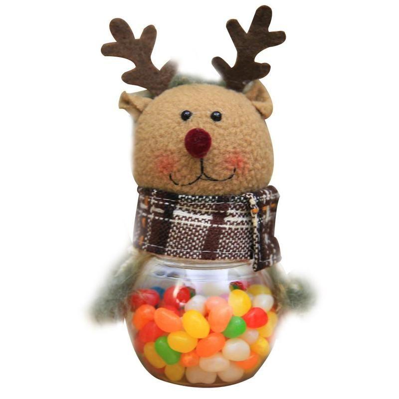 Новогодняя пластиковая банка с игрушкой для конфет, Олень