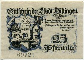 Германия. Нотгельд г. Диллинген 25 пфеннигов 1920