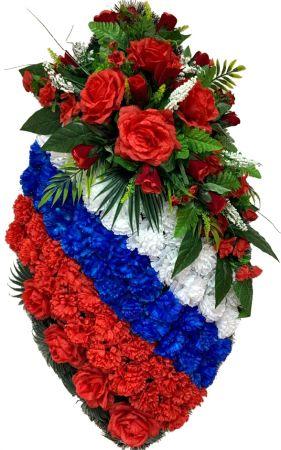 Фото Ритуальный венок на возложение #13 Триколор из гвоздик и красные розы