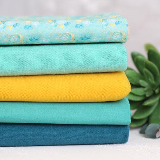 Набор тканей для пошива - Изумруд и охра