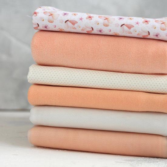 Набор тканей для пошива - Персик и сливки