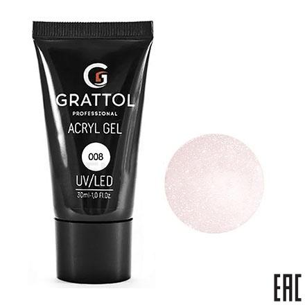 Grattol, Acryl Gel 08 - Акрил-гель камуфляж с шиммером (30 мл.)