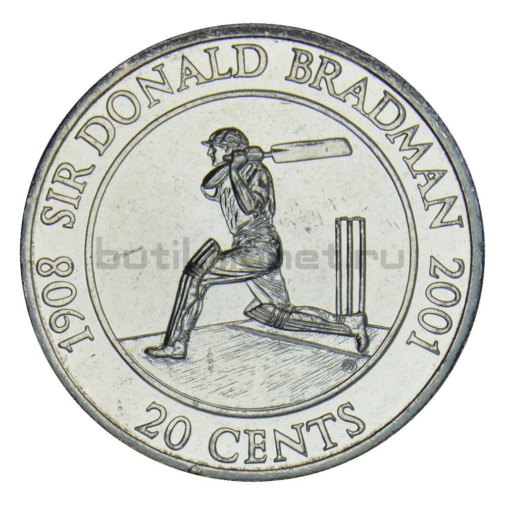 20 центов 2001 Австралия Жизнь сэра Дональда Брэдмана 1908-2001