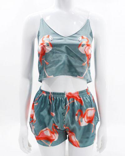 """Шелковая женская пижама на бретелях """"Фламинго"""""""