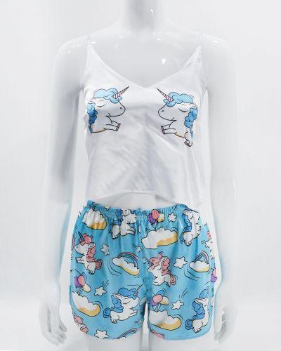 """Шелковая женская пижама на бретелях """"Unicorn"""""""