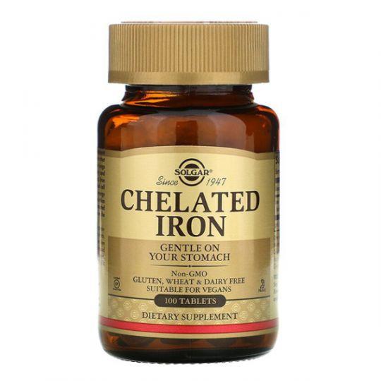 Iron железо (хелатный) Solgar, 25 мг, 100 таблеток