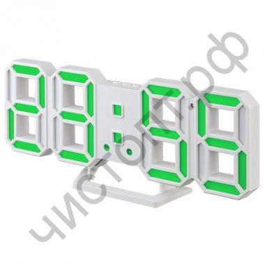 "Часы  эл. сетев. Perfeo LED ""LUMINOUS 2"", настол/настен. , белый корпус / зелёная подсветка (PF_B4922) (5В)"