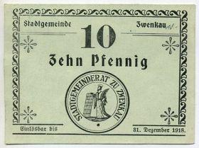 Германия. Нотгельд ком. Цвенкау 10 пфеннигов 1918