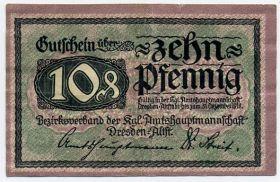Германия. Нотгельд г. Дрезден 10 пфеннигов 1918