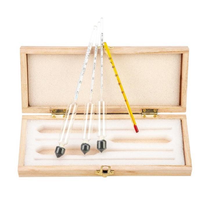 Набор ареометров и термометра спиртового в деревянном футляре (Китай)