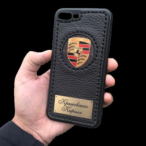 Кожаный чехол-накладка «Porsche» с именной гравировкой на iPhone