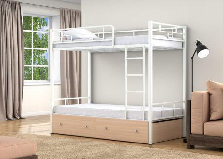 Двухъярусная кровать Валенсия Белый ящики