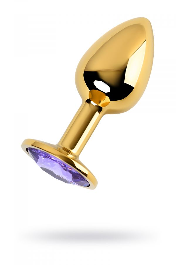 Анальный страз Metal by TOYFA, металл, золотистый, с кристаллом цвета аметист, 7 см, ? 2,8 см, 50 г