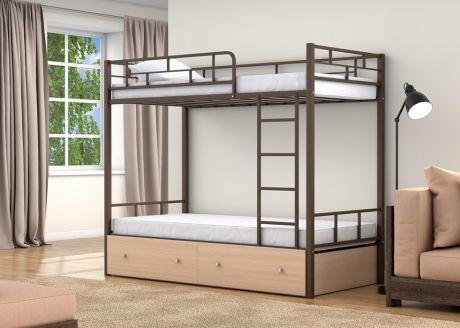 Двухъярусная кровать Валенсия Коричневый ящики