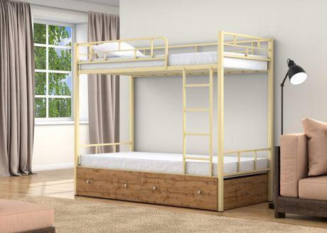 Двухъярусная кровать Валенсия Слоновая кость ящики
