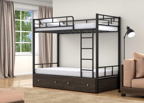 Двухъярусная кровать Валенсия Черный ящики