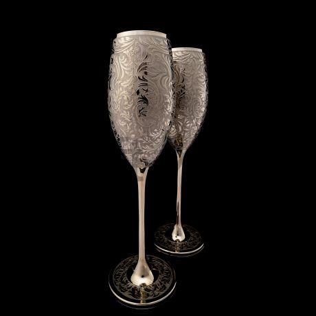 Набор бокалов для Шампанского в платине.