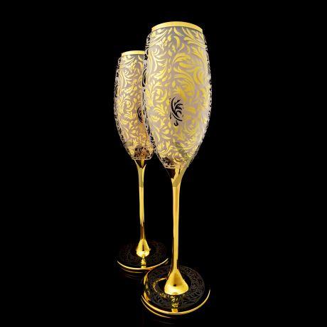 Набор бокалов для Шампанского в золоте 24 карата в технике лед.