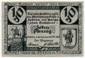Германия. Нотгельд г. Цобтен-ам-Берге 10 пфеннигов 1919
