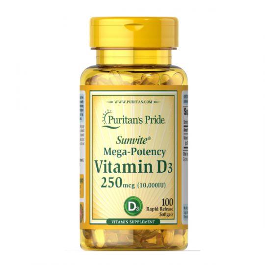 Витамин D3, 250 mcg (10000 IU) Puritans Pride, 100 капсул