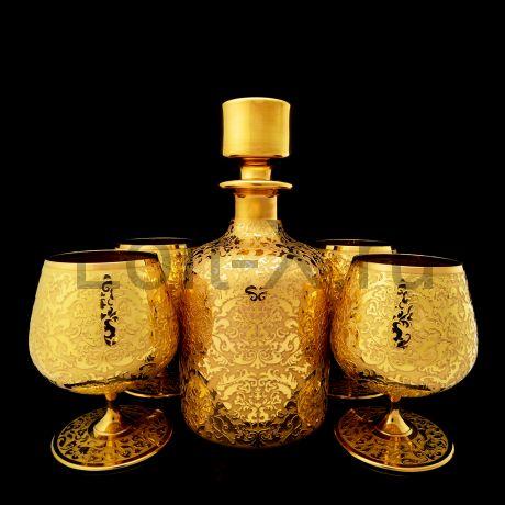Набор бокалов для коньяка с покрытием золотом 24 карата