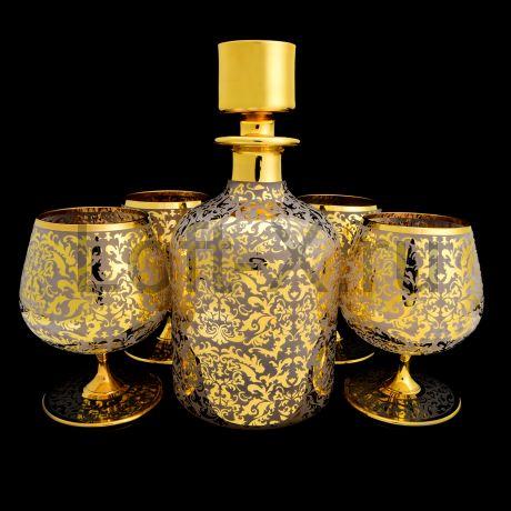 Набор бокалов для коньяка с покрытием золотом 24 карата в технике лёд