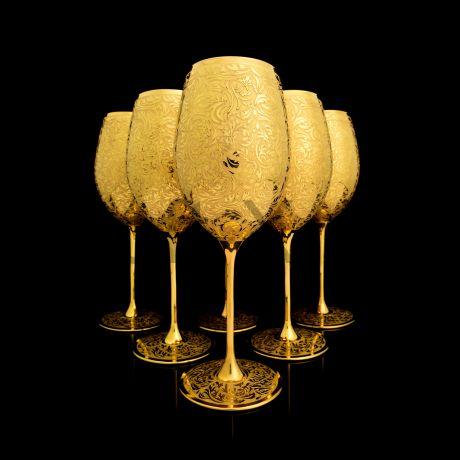 Набор хрустальных бокалов для вина в золоте 24 карат