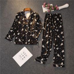 пижама черная с рисунком Армани шелк, размеры 42,44,46, модель 696