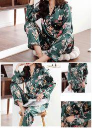 пижама с брюками рисунок, зеленый изумруд. размеры 42,44,46,48, модель 698