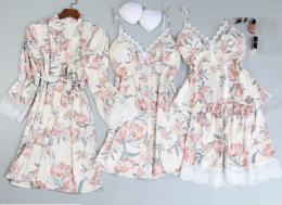 пижамный комплект 4 предмета, размеры 42,44,46, модель 702