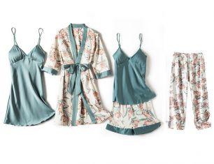 комплект пижамный 5 предметов, шелк,  размеры 40,42,44,46,48,50, модель  706
