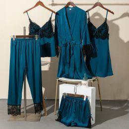 комплект пижамный 5 предметов, шелк,  размеры 44,46, модель  707