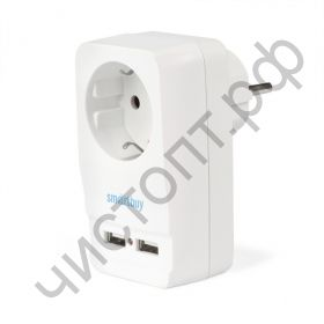 Адаптер-фильтр Smartbuy, 1 гнездо с заземлением 16A, 2 USB 2.1 A (SBE-16-A05-USB)