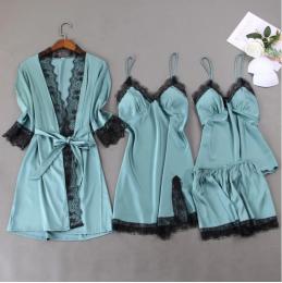 пижамный комплект шелк, 4 предмета, размеры 44,46,48  модель 711