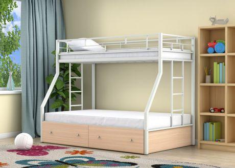 Двухъярусная кровать Милан Белый ящики