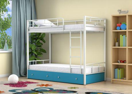 Двухъярусная кровать Ницца Белый ящики