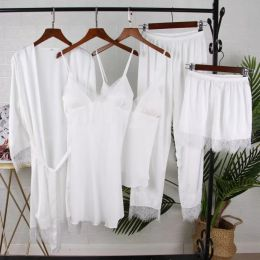 белый пижамный комплект, 5 предметов , размер 42,44,46 модель 701