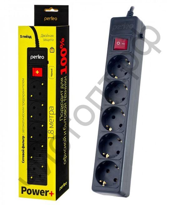 """Удлинитель Perfeo """"POWER+"""" сетевой фильтр  1,8м, 5 розеток, черный (PF-PP-5/1,8-B)"""