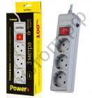 """Удлинитель Perfeo """"POWER+"""" сетевой фильтр, 3,0м, 3 розетки, серый (PF-PP-3/3,0-G)"""