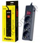 """Удлинитель Perfeo """"POWER+"""" сетевой фильтр, 3,0м, 3 розетки, черный (PF-PP-3/3,0-B)"""