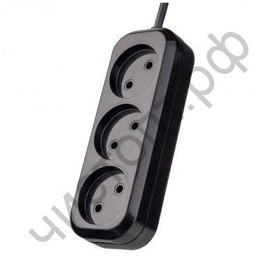 """Удлинитель Perfeo """"RU POWER"""" без заземления , 3м, 3 розетки, чёрный (PF_B4066)"""