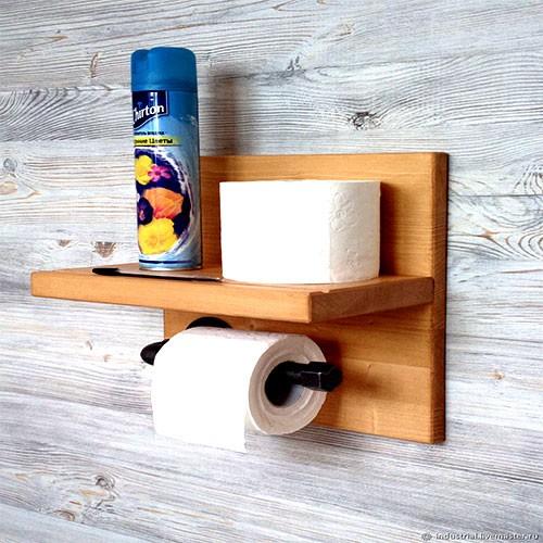 Держатель для туалетной бумаги с полочкой и крючком