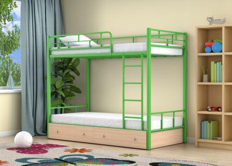 Двухъярусная кровать Ницца Зеленый ящики