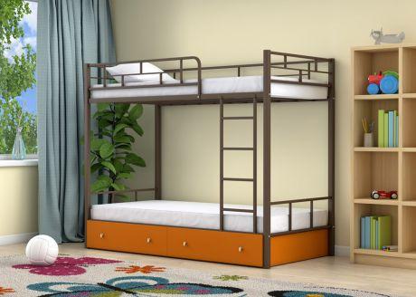 Двухъярусная кровать Ницца Коричневый ящики