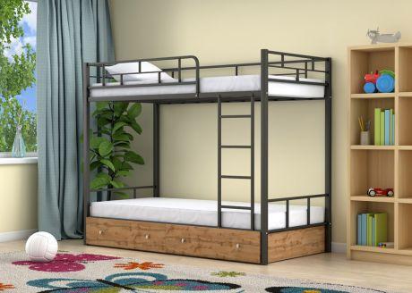Двухъярусная кровать Ницца Черный ящики