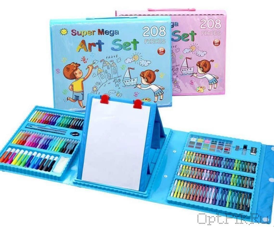 """Чемоданчик """"Набор Юного художника"""" для рисования Art Set 208 предметов с мольбертом"""