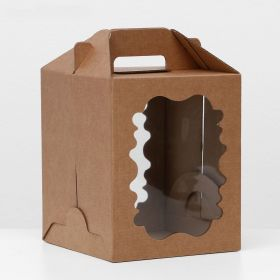 Коробка с окошком , крафт, МИКС, 18 х 18 х 22 см