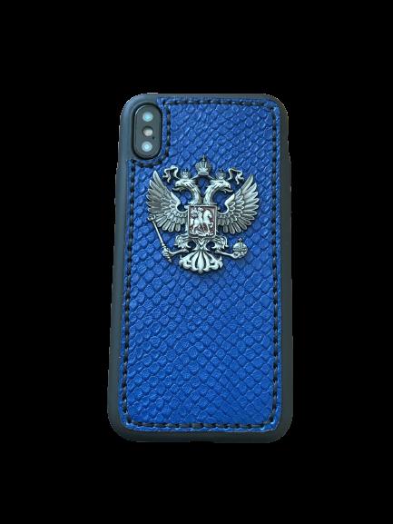 Кожаный чехол-накладка с гербом РФ синий фон на iPhone